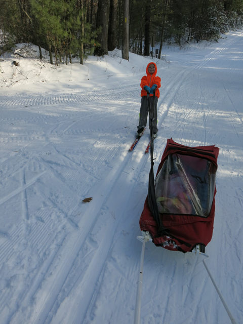 ski hill pulling sled