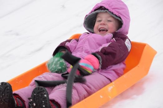 sledding Nola Mae