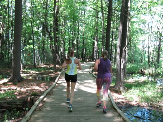 Frugal Sisters' Half Marathon 9 boardwalk in woods