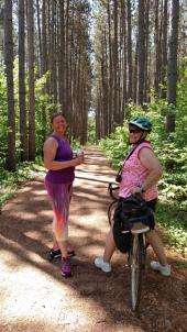 frugal sisters Jenny & Mom bike a